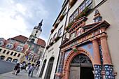 Marktplatz mit Kirchturm St. Wenzel und Rathaus, Naumburg, Sachsen-Anhalt, Deutschland, Europa