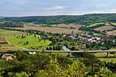 View of idyllic landscape and Nissmitz, district of Freyburg an der Unstrut, Saxony-Anhalt, Germany, Europe