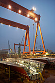 Insight into the dry-docks at night, worlds largest shipyard in Ulsan, South Korea, Asia
