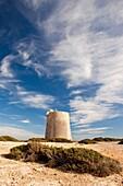 Watchtower of Ses Portes in Natural park of Ses Salines in Sant Francesc de S´Estany, Ibiza, Illes Balears, Spain