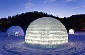 Igloo Village on Shikaribetsu frozen lake,Snow Water surface ,Shikaribetsu, Hokkaido, Japan