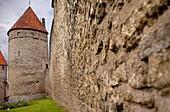 Old city walls in Tornide väljak ,Tallinn, Estonia