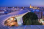 To of Metropol Parasol, in background the cathedral,from Plaza de la Encarnación,Sevilla,Andalucía,Spain