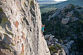 Nic Houser rock climbing a route named Fly Like An Eagle which is rated 5,11 and located on Eagle Rock at The City Of Rocks National Reserve in southern Idaho