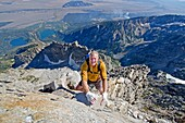 Mark Weber free solo rock climbing The Direct South Ridge route which is rated grade 3 at 5,7 on Nez Perce Peak in Grand Teton National Park in northern Wyoming