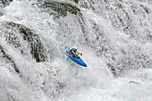 Kyle Keegan kayaking the falls in Box Canyon which are rated Class 5 at Box Canyon State Park in southern Idaho