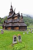 Views from Borgund stave church built around A D  1180 in Borgund, Norway
