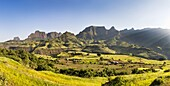 Panorama of a landscape near the escarpment of the Simien Mountains close to the Simien Mts  National Park near the village of Mekarebya at an elevation of about 2300m during the end of the rainy season  This area is heavily used for farming especially th