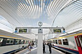 Platform at new Liège-Guillemins modern railway station designed by architect Santiago Calatrava in Liege Belgium