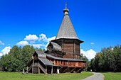 St  George wooden church from Vershina 1672, open air wooden architecture museum, Malye Korely, near Archangelsk, Archangelsk Arkhangelsk region, Russia