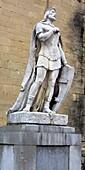 Monument to king Alfonso II of Asturias near Cathedral of San Salvador, Oviedo, Asturias, Spain