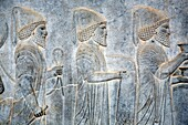 Bas reliefs in palace of Akhemenid kings 510-450 BC, UNESCO World Heritage Site, Persepolis, province Fars, Iran