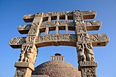 Buddhist monuments: torana of small stupa 1st century AD, UNESCO World Heritage site, Sanchi, India