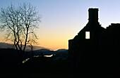 Highland clearances old ruined croft cottage in deserted village of Arichonan near Lochgilphead, Argyll, Scotland, UK