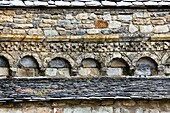 Blind arches in the Romanesque church of the Nativity - Durro - Boi - Vall de Boi - Pyrenees - Lleida Province - Catalonia - Spain
