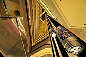 The futuristic interior of the Pan Pacific Hotel  Singapore.