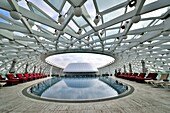 The rooftop pool of the futuristic Yas Viceroy Hotel, located in the middle of the Yas Marina F1 Circuit  Abu Dhabi, United Arab Emirates