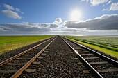 Railway track, Germany, Schleswig Holstein, Sylt, North Frisian Islands, North Sea