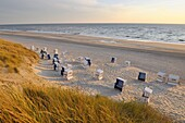 Beach with beach chairs at sunset, Germany, Schleswig Holstein, Sylt, Red Cliff, North Frisian Islands, North Sea