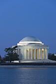 Jefferson Memorial illuminated during twilight prior to sunrise in Washington, DC, USA