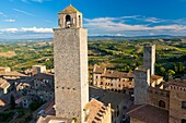 View from tower above San Gimignano, UNESCO World Heritage, Siena province, Tuscany, Italy, Europe
