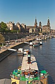 Fleet parade of historical paddle steamers, every year on 1 May, on the Elbe River in front of the old town of Dresden, Saxony, Germany, Europe