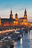 View over Elbe river to Bruehls Terrace, the house of the estates, Hausmannsturm tower and the Catholic Church of the Royal Court of Saxony from left to right, Dresden, Saxony, Germany, Europe