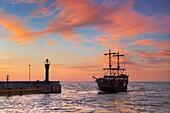 Sunset time at the Baltic sea, Leba village, Poland, Europe