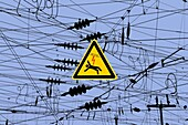 Sign ´Beware of electric shock´, chaotic overhead wires above railway tracks, Germany, photomontage