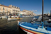 Canal Royal Lined with Pleasure Boats & Fishing Boats Quai de Tassigny Sète France