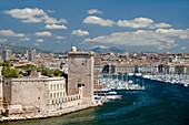 Panoramic View of Marseilles or Marseille Old Port or Vieux Port & Saint Jean Fort Bouches-du-Rhône Provence France