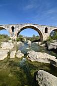Roman Pont Julien or Julian Bridge over the Calavan River Bonnieux Vaucluse Luberon Provence France