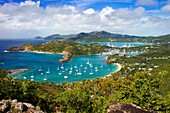 Lookout view from Shirley Heights over Admiral Nelson´s Dockyards, Antigua, Leeward Islands, West Indies