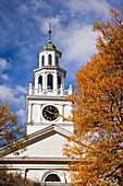 Autumn at the First Congregational Church in Woodstock, Vermont, USA