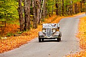 Touring the back woods in autumn near Woodstock, Vermont, USA