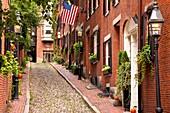 Famous Acorn Street in Beacon Hill, Boston Massachusetts USA