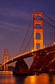 Early morning below the Golden Gate Bridge from Sausalito, California, USA