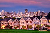 Twilight at the Painted Ladies overlooking the skyline of San Francisco, California, USA