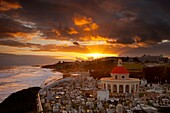 Sunrise over historic Santa Maria Magdalena de Pazzis Cemetery in old San Juan Puerto Rico