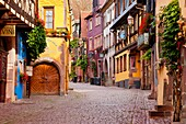 Early morning along Rue du General de Gaulle in the village of Riquewihr - along the wine route, Alsace Haut-Rhin France
