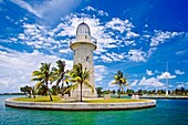 Boca Chita Lighthouse, a 65-foot ornamental lighthouse built by Mark Honeywell, one of the island´s former owners, in the 1930s, Boca Chita Key, Biscayne National Park, Miami, Biscayne Bay, Florida, USA, Caribbean Sea, Atlantic Ocean