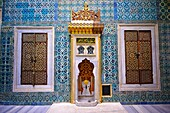 The Hall with a Fountain of the Harem, the vestibule where princes & consorts of the sultan waited before entering the Imperial Hall  The tiles are 17th century Kutahaya and Iznik tiles  Topkapi Palace, Istanbul, Turkey