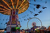 parish fair with chairoplane and Ferris wheel at night, Luxembourg