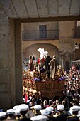 The Jesus del Silencio brotherhood throne crosses the Gate of the Roman Bridge, also known as the Arch of the Triumph during an Easter Holy Week procession in Cordoba, Andalusia, Spain, April 17, 2011