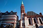 Historical buildings in the Römerberg plaza one of the major landmarks in Frankfurt am Main, Germany