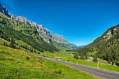 Klausenpass road with Urnerboden, Glarner Alps, Uri, Switzerland, Europe