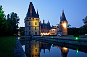 The Reflection Of The Lit-Up Chateau De Maintenon Reflected In The Ponds, Eure-Et-Loir (28), Centre, France
