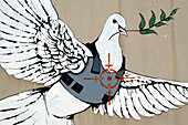 The Dove Of Peace Wearing A Bulletproof Vest In The Line Of Fire, Drawing By The British Graffiti Artist Banksy On A Wall In Bethlehem, West Bank, Palestinian Authority