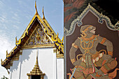 Apsari, Celestial Nymph Dancing For The Gods' Enjoyment, Painting In The Wat Phra Kaeo (Wat Phra Kaew) Or Temple Of The Emerald Buddha, Situated Within The Grounds Of The Royal Palace, Bangkok, Thailand, Asia