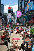 Pedestrian Zone And High-Rise Buildings In Times Square, Midtown Manhattan, New York City, New York State, United States